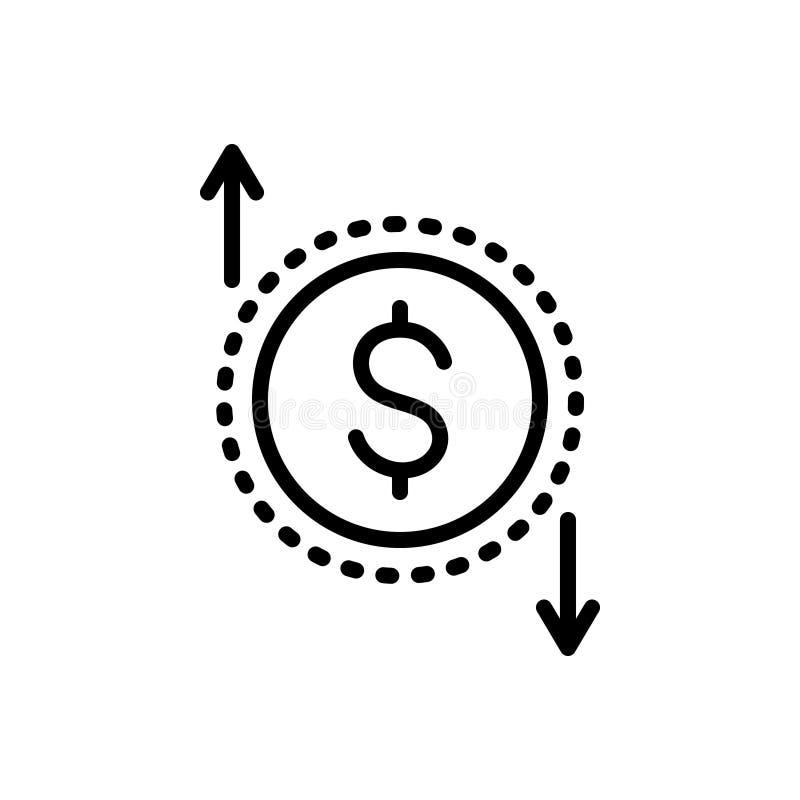 Черная линия значок для значения, вклада и финансового валюты бесплатная иллюстрация