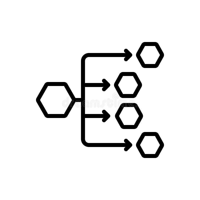Черная линия значок для каналов распределения, распределения и соединений иллюстрация вектора