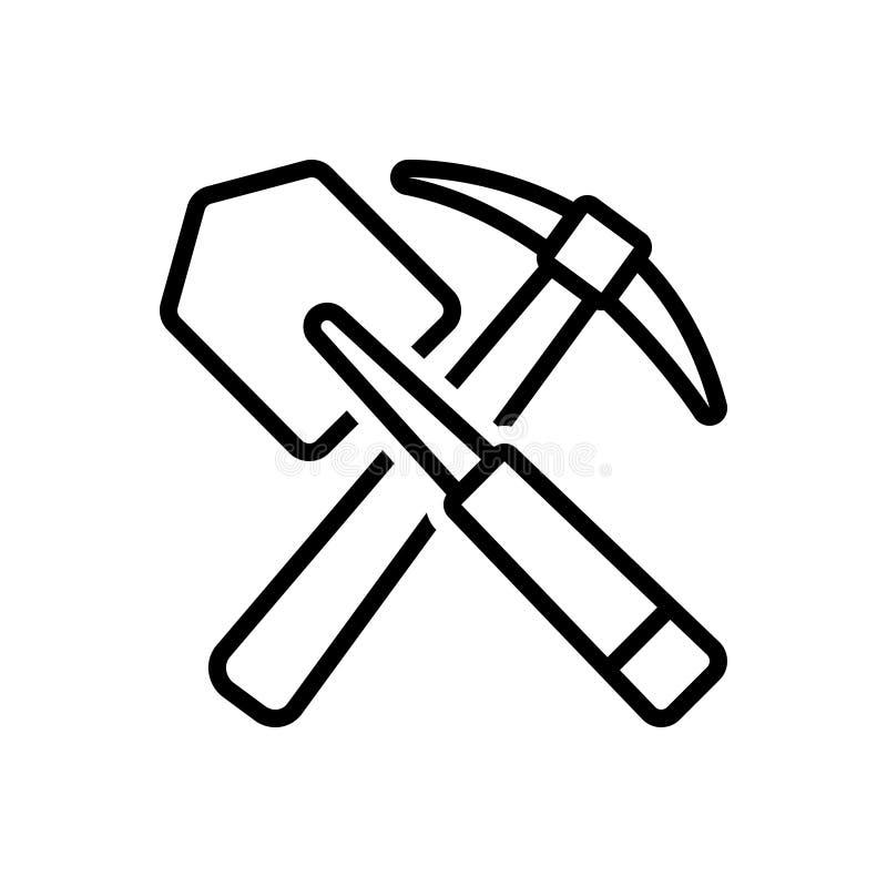 Черная линия значок для лопаткоулавливателя, укреплять и земледелия иллюстрация штока