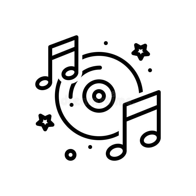 Черная линия значок для музикально, концерт и слушать бесплатная иллюстрация