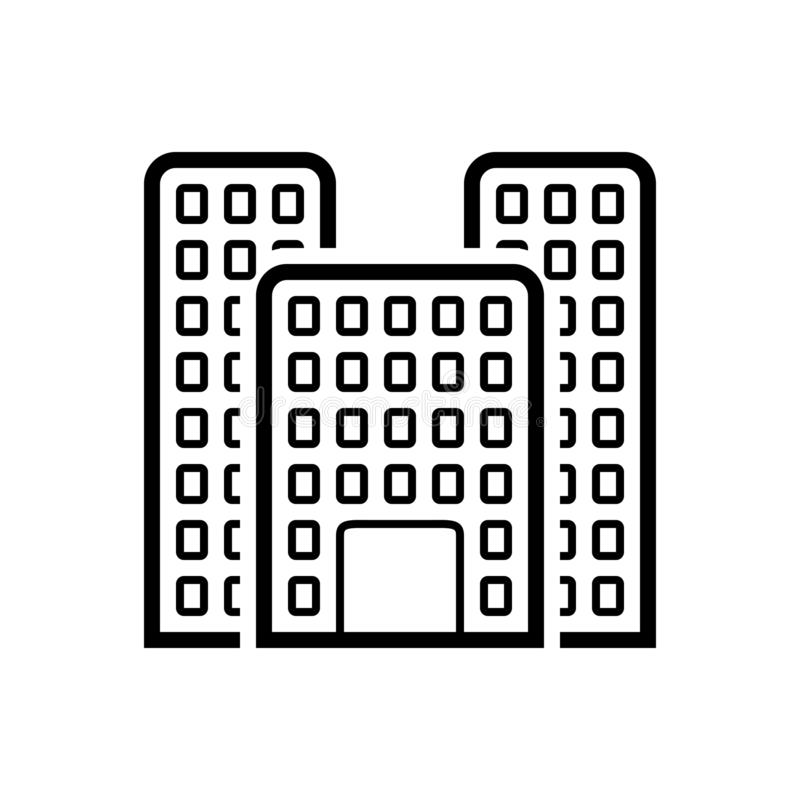 Черная линия значок для офисного здания, большая и ориентира бесплатная иллюстрация