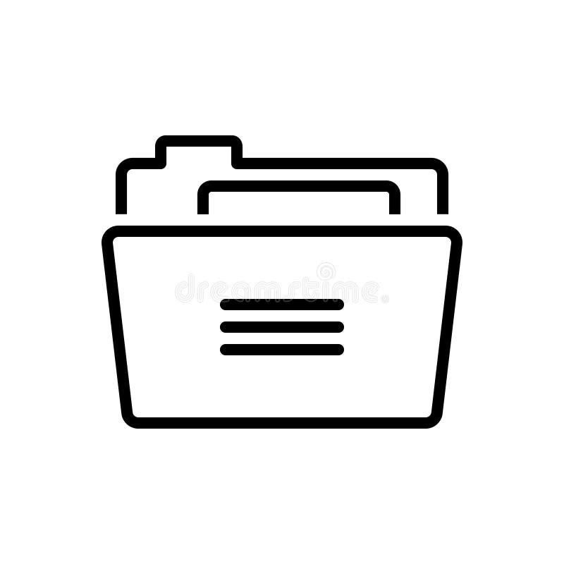 Черная линия значок для папки, связывателей и досье иллюстрация вектора