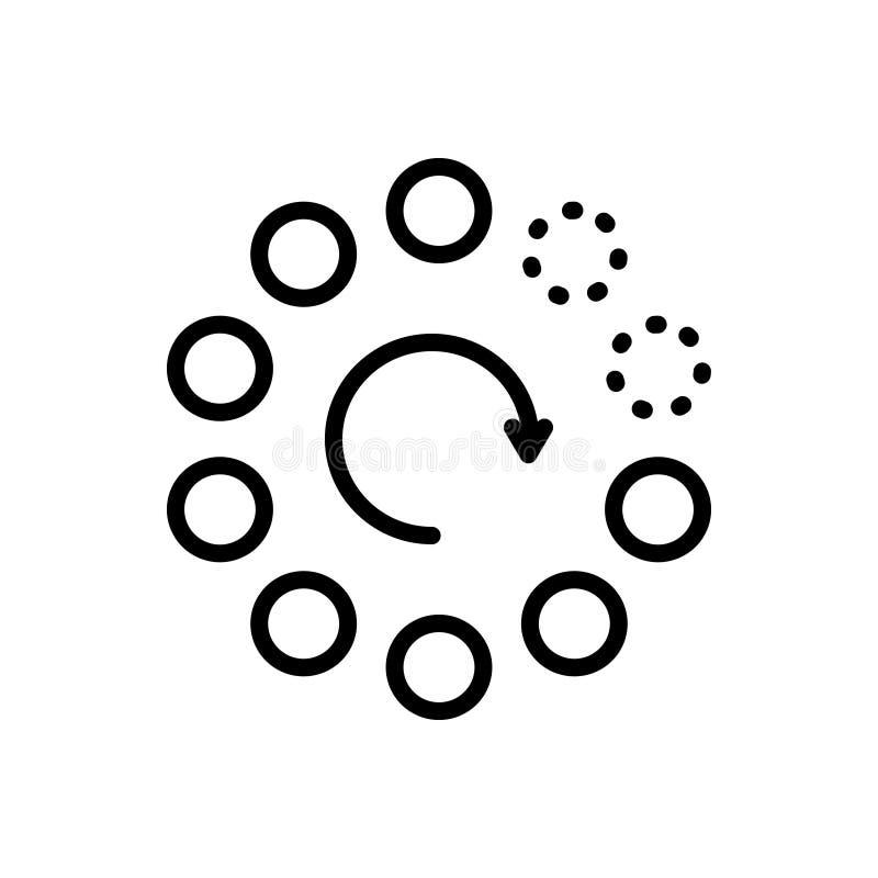 Черная линия значок для постепенно, амортизируя и медленно иллюстрация вектора