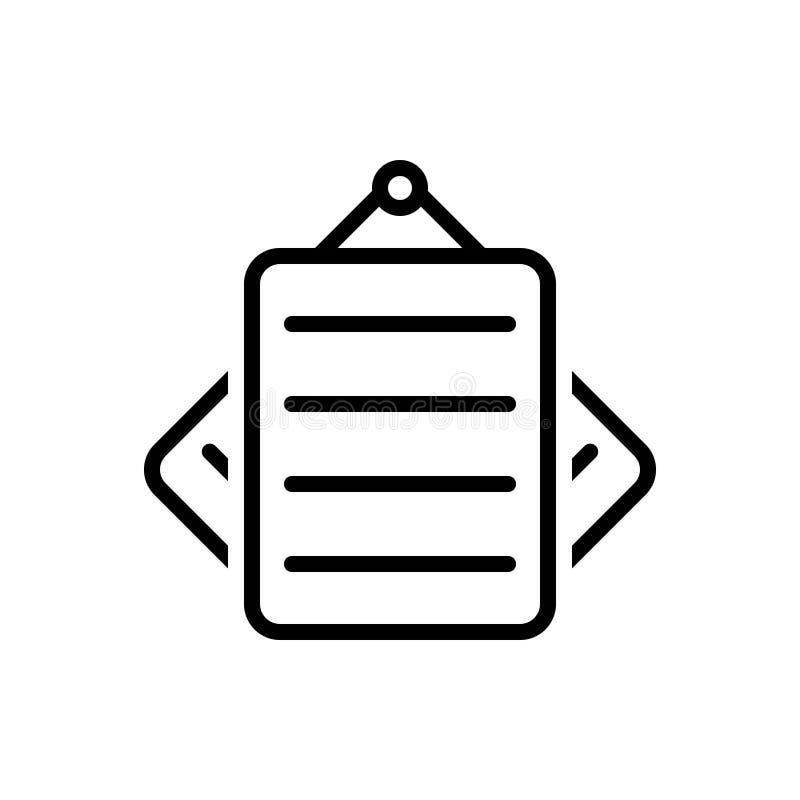 Черная линия значок для примечаний, бумаги и документа бесплатная иллюстрация