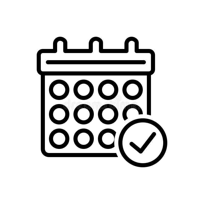 Черная линия значок для символа, встречи и события проверки календаря иллюстрация вектора