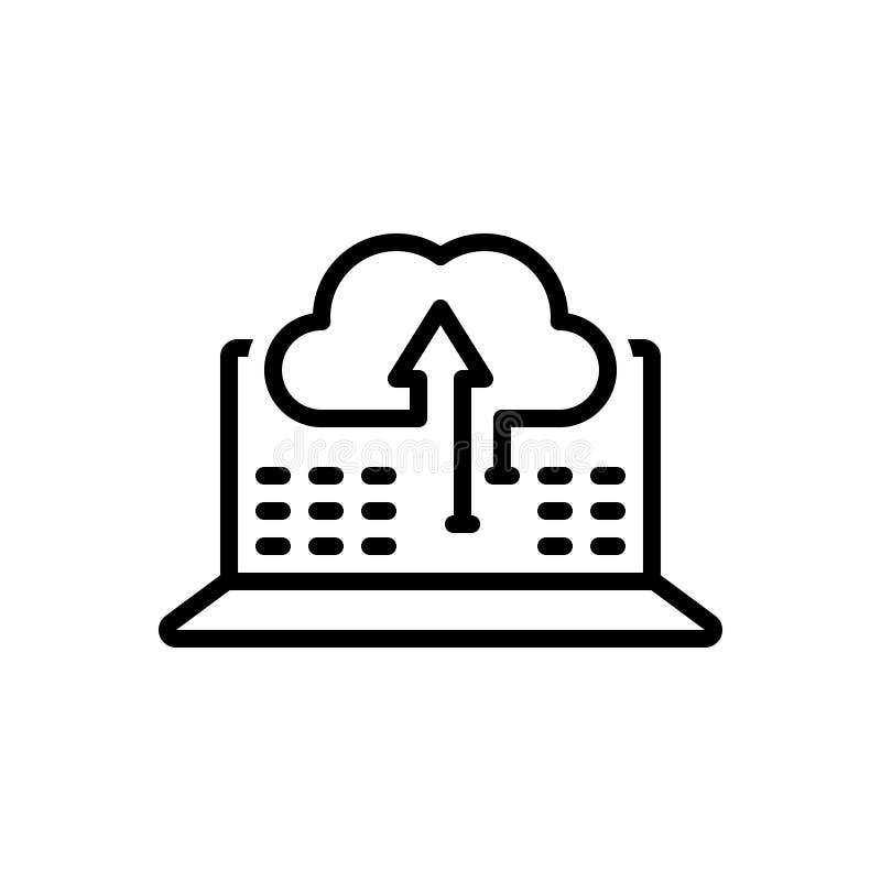Черная линия значок для синхронизации данных по, передачи и обновления данных иллюстрация штока