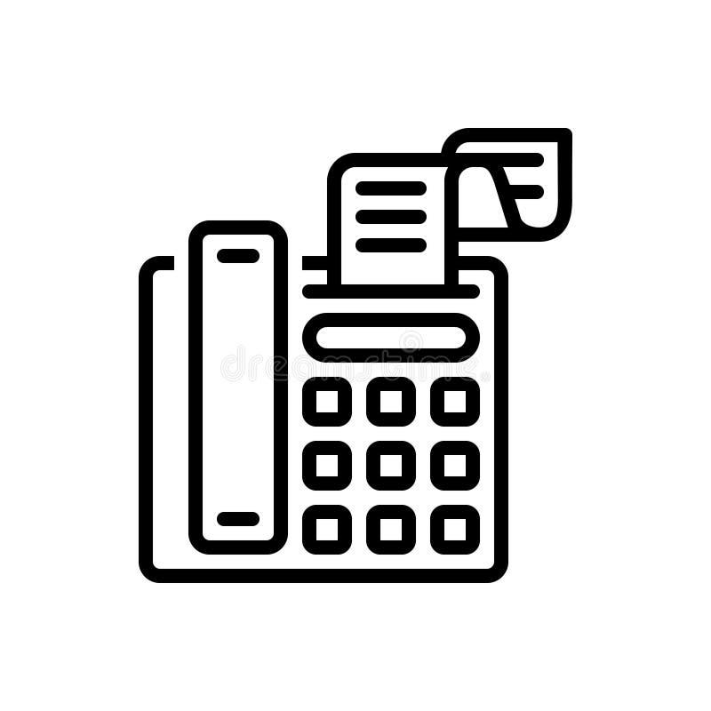 Черная линия значок для факсимильного сообщения, радиосвязи и счета иллюстрация штока