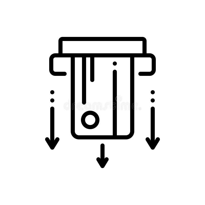 Черная линия значок для Cardswipe, оплачивать и машины иллюстрация штока