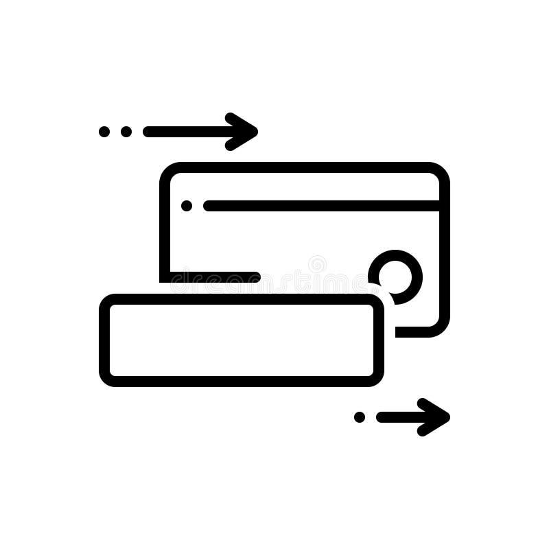 Черная линия значок для Cardswiping, cardswipe и оплачивать бесплатная иллюстрация