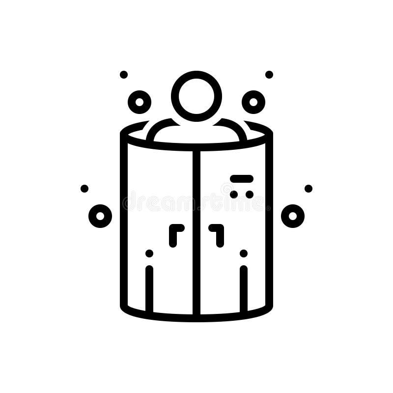 Черная линия значок для Cryotherapy, камеры и медицинского иллюстрация вектора