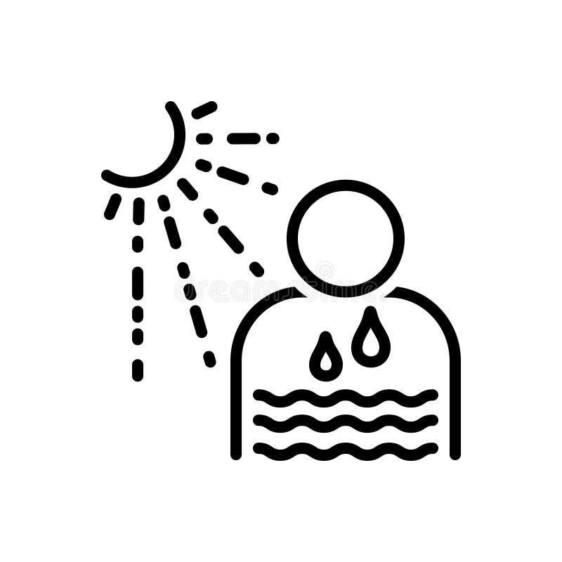 Черная линия значок для Dehydrate, sunstroke и потеть иллюстрация штока