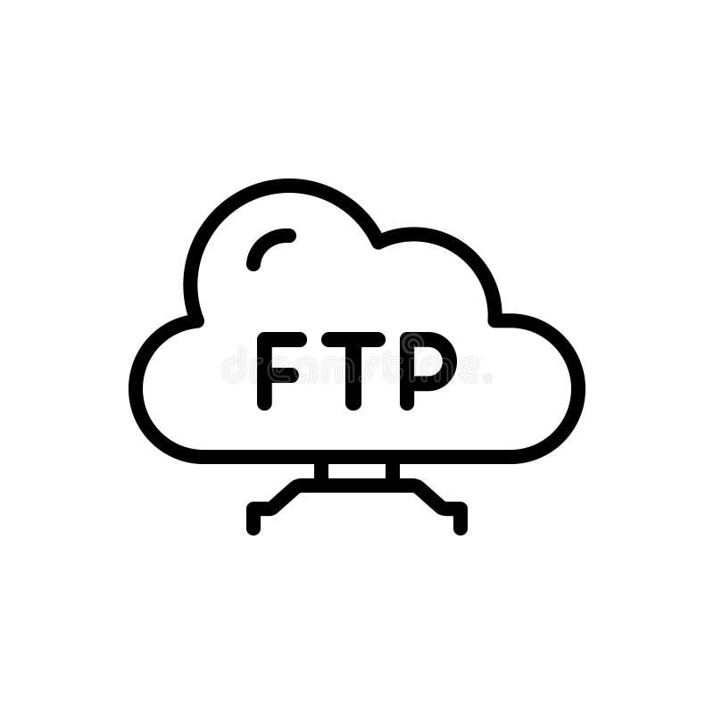 Черная линия значок для Ftp, протокола и папки иллюстрация вектора