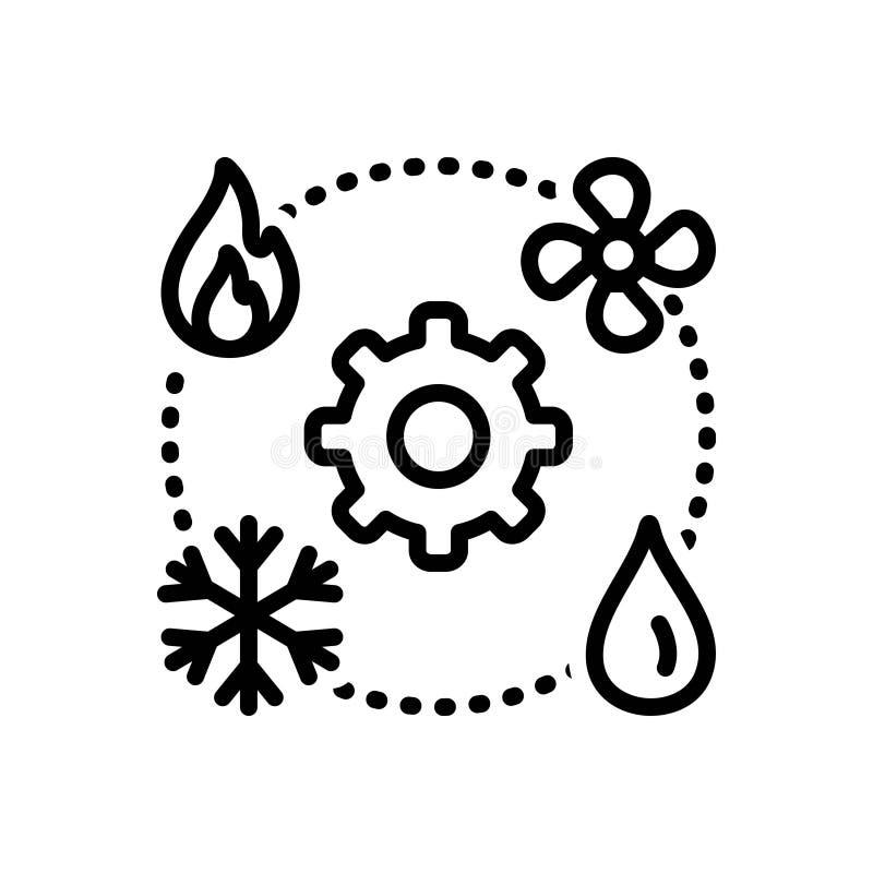 Черная линия значок для Hvac, технологии и топления иллюстрация вектора