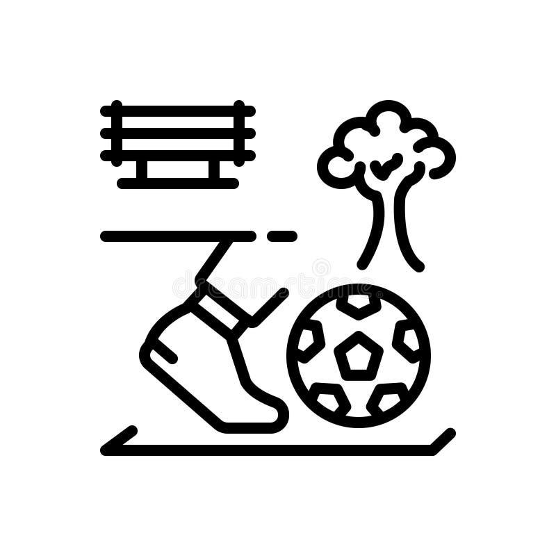 Черная линия значок для kickball, деятельности и игры иллюстрация штока