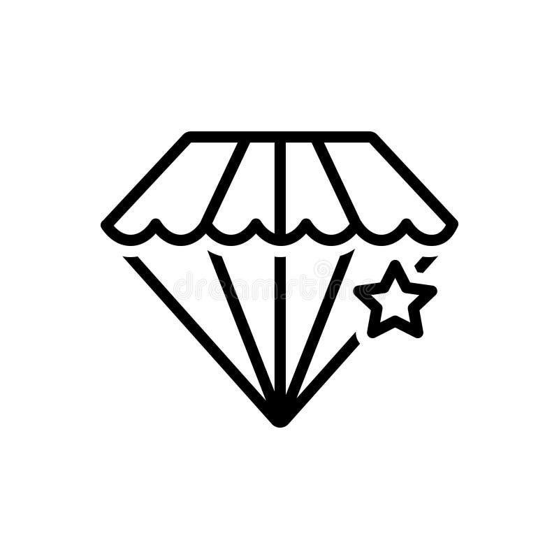 Черная линия значок для Pawnshop, диаманта и светить иллюстрация штока