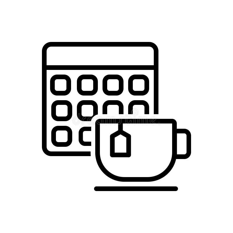 Черная линия значок на дата события встречи чая, календарь и дата чая бесплатная иллюстрация
