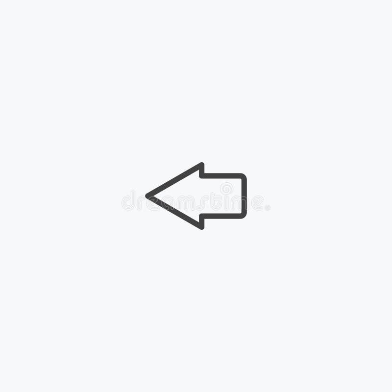 Черная линия стрелка пойти левый вектор значка стоковая фотография