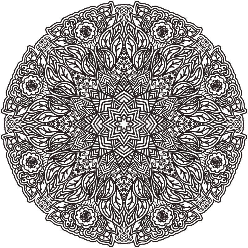 Черная мандала для красить Изолированная страница расцветки элемента Конструкция искусства Необыкновенная картина в индийской тат бесплатная иллюстрация