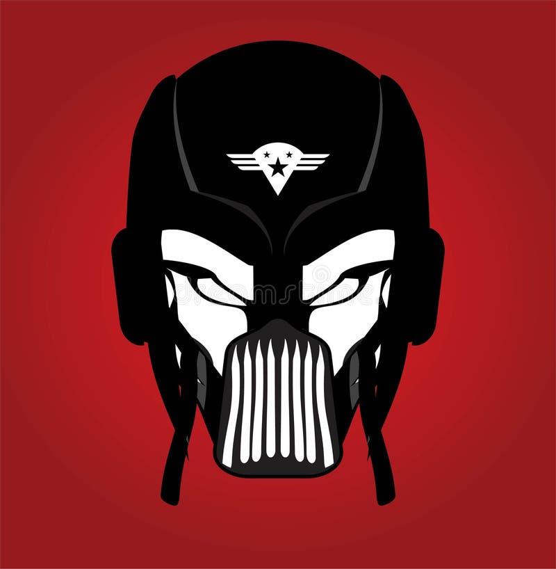 черная маска гонщик Всадник Пилот супергерой злодейка asama WA иллюстрация вектора
