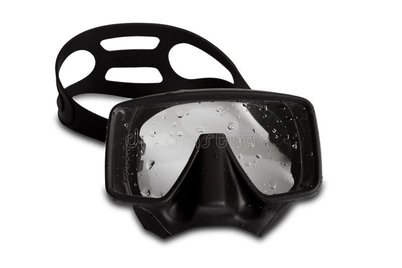Черная маска подныривания с падениями воды стоковое фото rf