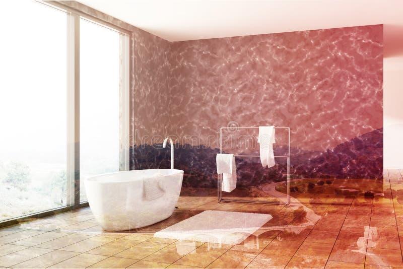 Черная мраморная ванная комната, белый тонизированный ушат, бесплатная иллюстрация
