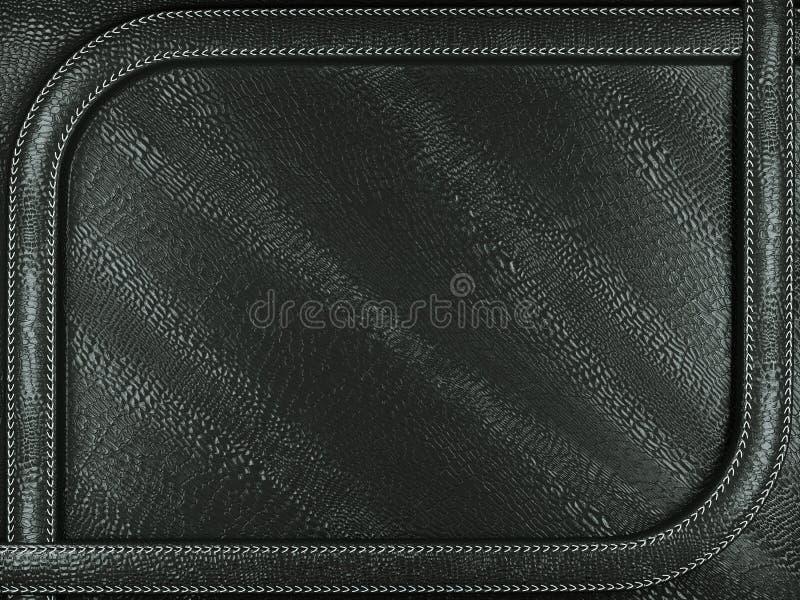 Черная насмешливая предпосылка croc или крокодиловой кожи с сшитым patte стоковое изображение rf