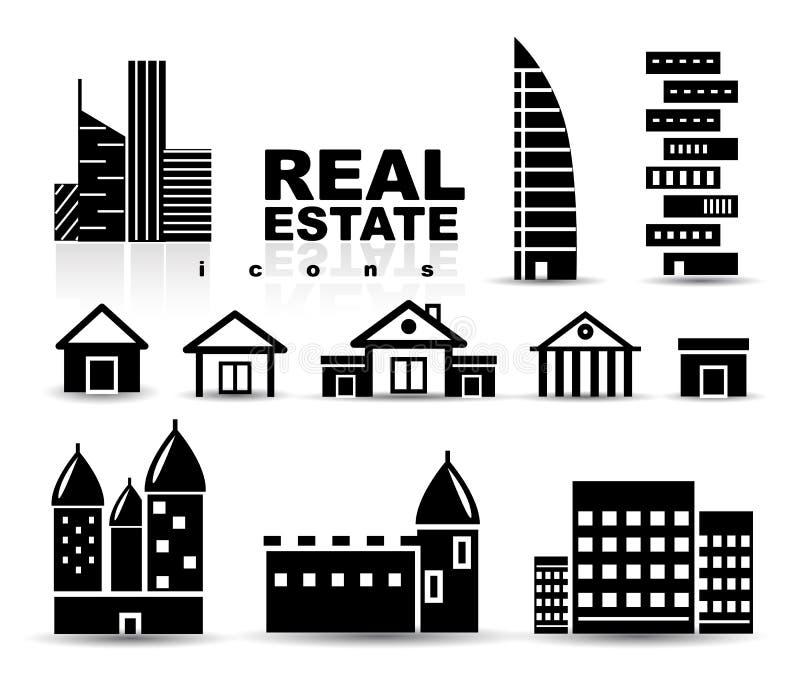 Черная недвижимость | дома | комплект иконы зданий иллюстрация вектора