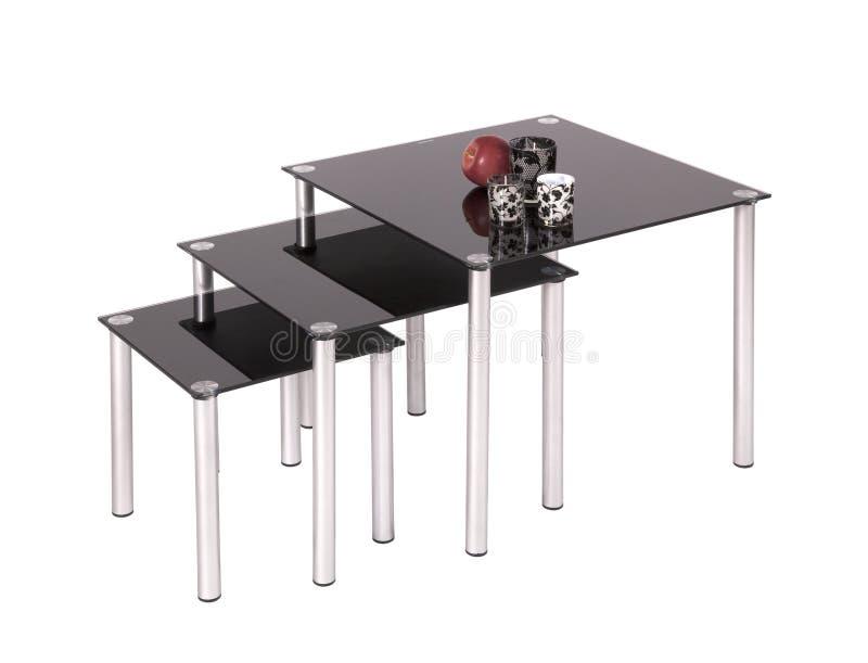 черная обедая стеклянная верхняя часть таблиц стоковые фотографии rf