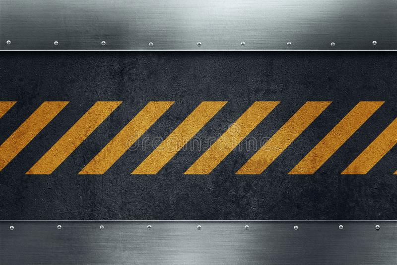 Черная пакостная grungy поверхность асфальта с желтыми предупреждающими нашивками иллюстрация штока