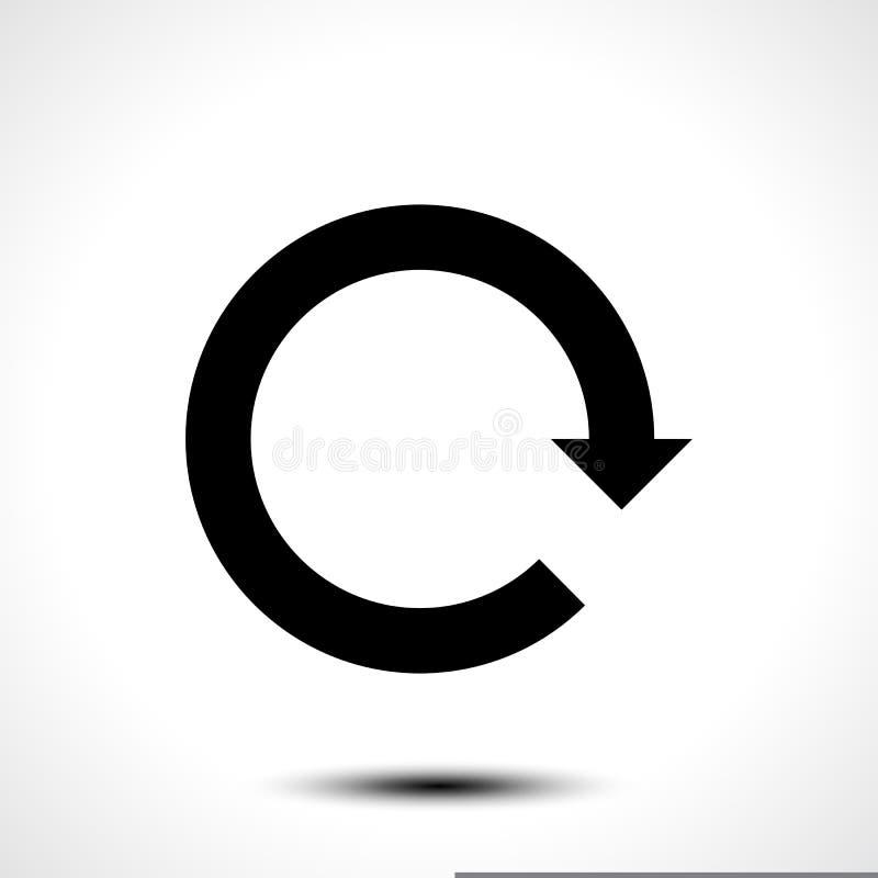 Черная перезарядка значка стрелки, освежает, вращение, возврат, знак повторения бесплатная иллюстрация