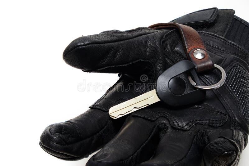 Черная перчатка мотоцикла неподдельной кожи с высоким уровнем безопасности Motorc стоковое фото