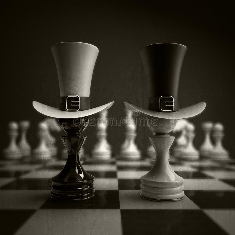 черная пешка шахмат против wihte стоковое изображение
