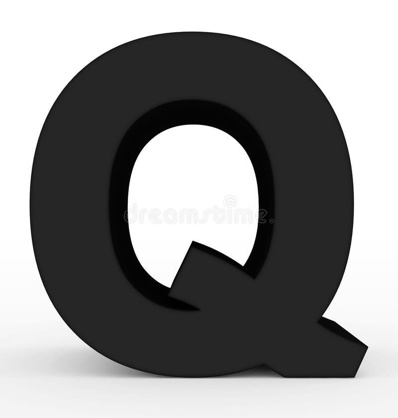 Черная письма q 3d изолированная на белизне бесплатная иллюстрация