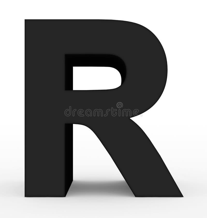 Черная письма r 3d изолированная на белизне иллюстрация штока