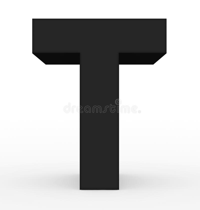 Черная письма t 3d изолированная на белизне иллюстрация вектора