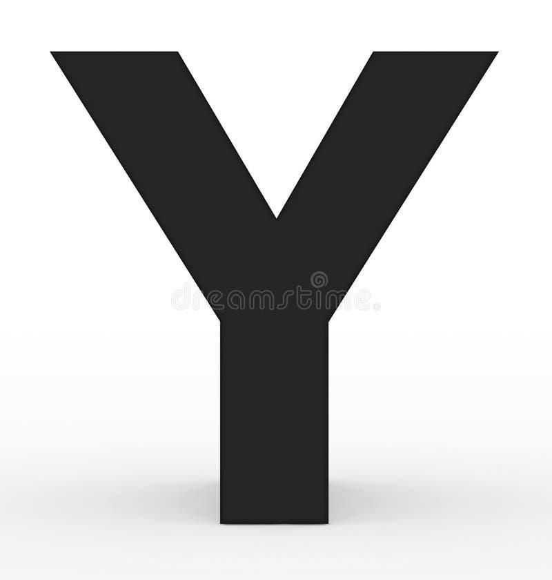 Черная письма y 3d изолированная на белизне иллюстрация штока