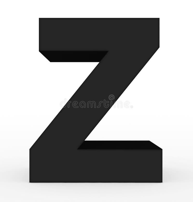 Черная письма z 3d изолированная на белизне иллюстрация штока