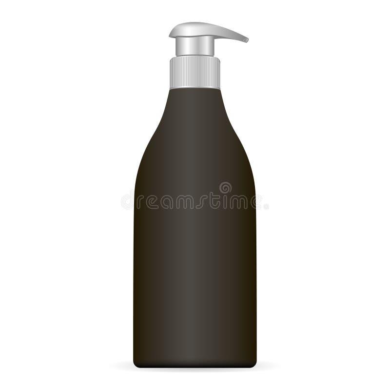Черная пластичная косметическая бутылка при крышка silwer изолированная на белой предпосылке Пакет с распределителем насоса для с бесплатная иллюстрация