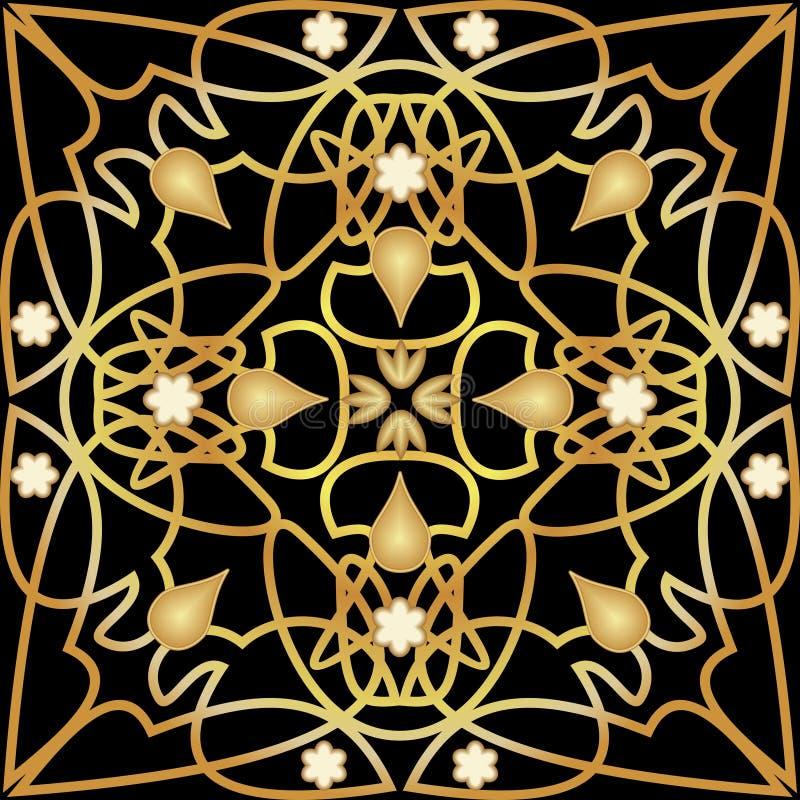 Черная плитка с роскошным золотым оформлением стиля Арт Деко Симметричный золотой орнамент с пластичными элементами Винтажное вик бесплатная иллюстрация