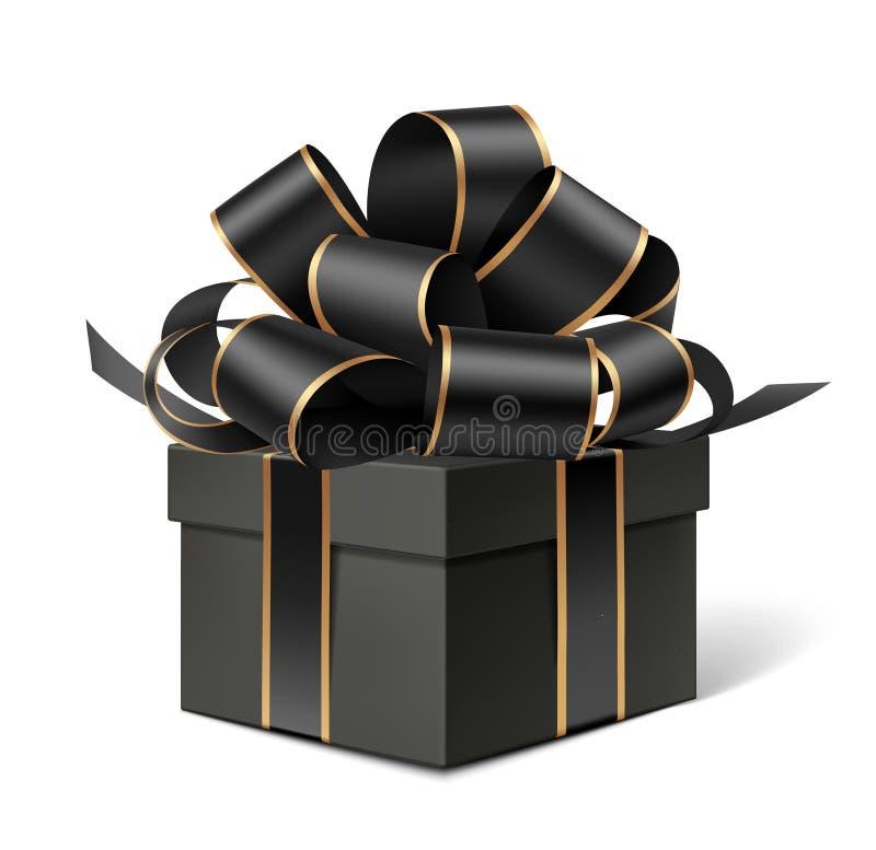 Черная подарочная коробка с декоративным черным смычком Украшение праздника иллюстрация штока