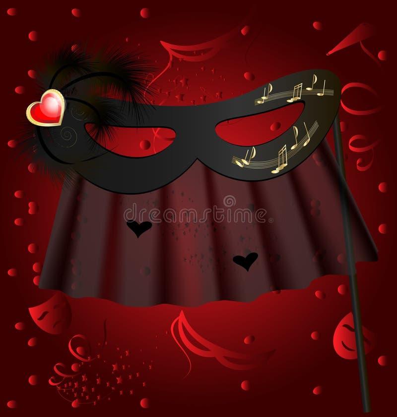 черная половинная маска иллюстрация вектора