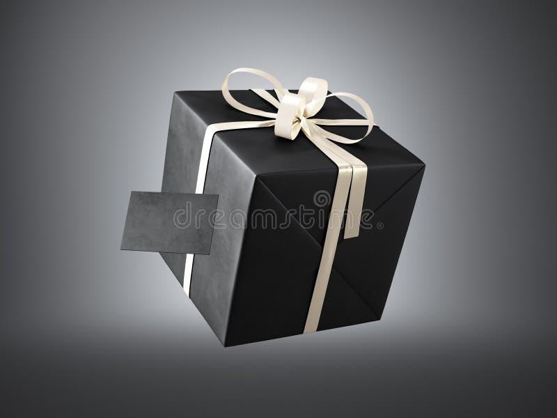 Черная подарочная коробка при золотой смычок ленты и пустая визитная карточка, изолированные на темных, мягких тенях 3d представл иллюстрация вектора