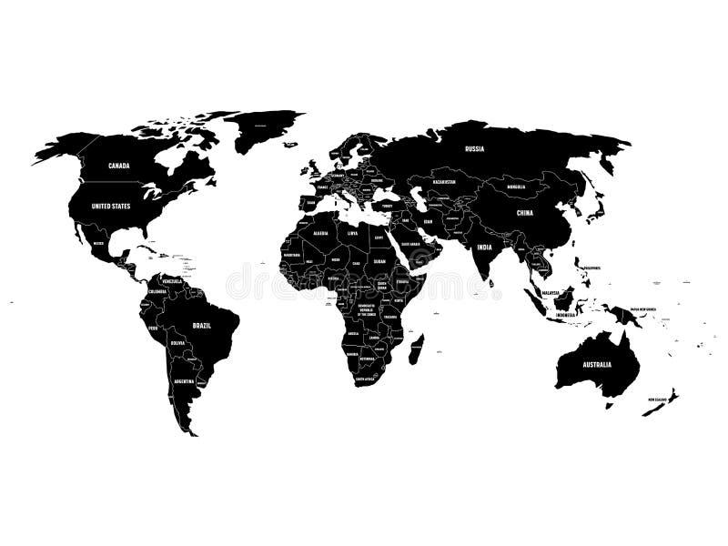 Черная политическая карта мира с границами страны и белыми ярлыками имени положения Нарисованная рукой упрощенная иллюстрация век иллюстрация вектора