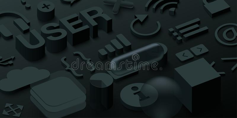 Черная предпосылка потребителя 3d с символами сети бесплатная иллюстрация
