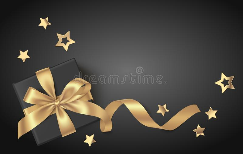 Черная предпосылка праздника Нового Года со звездами подарочной коробки и золота иллюстрация штока