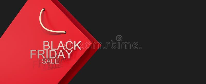 Черная предпосылка продажи пятницы с хозяйственной сумкой стоковые изображения