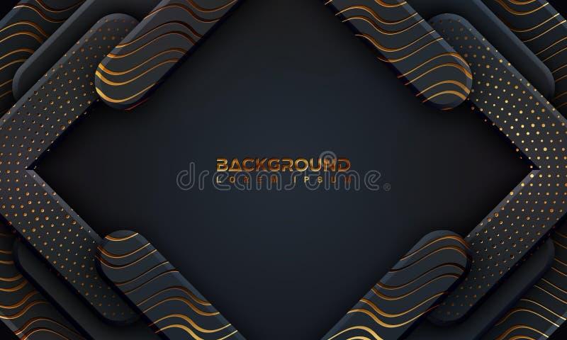 Черная предпосылка текстурированная со стилем 3D и волнистыми линиями Абстрактная черная предпосылка papercut со светить золотым  иллюстрация вектора