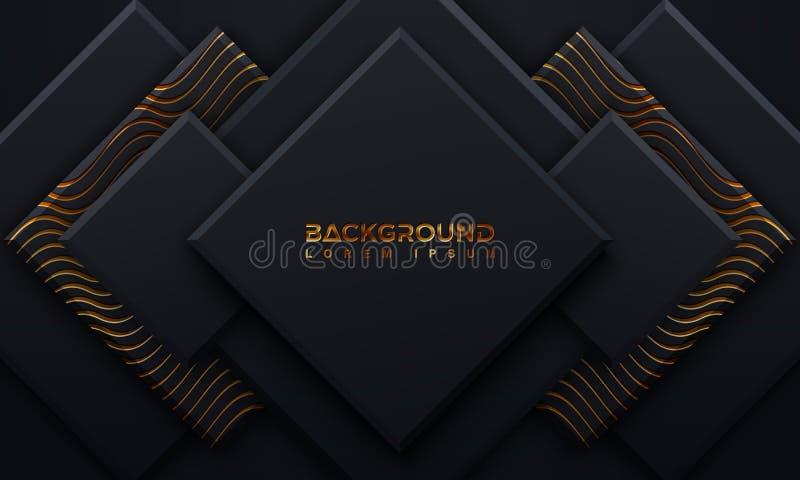 Черная предпосылка текстурированная со стилем 3D и волнистыми линиями Абстрактная черная предпосылка papercut со светить золотым  бесплатная иллюстрация