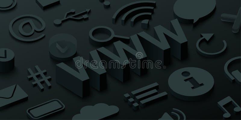 Черная предпосылка 3d www с символами сети иллюстрация вектора