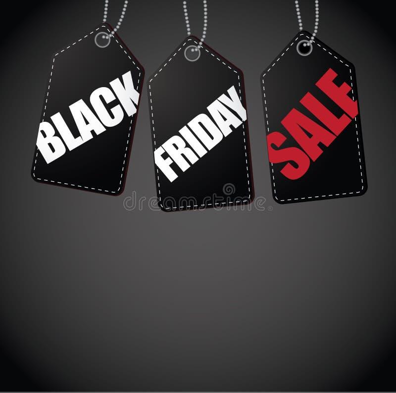Черная предпосылка бирки продажи пятницы иллюстрация вектора